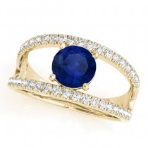 Blue Sapphire Split Shank Engagement Ring 18K Yellow Gold (0.84ct)