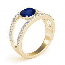 Blue Sapphire Split Shank Engagement Ring 18K Yellow Gold (0.84ct)