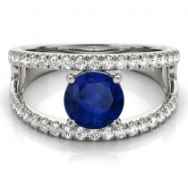 Blue Sapphire Split Shank Engagement Ring Platinum (0.84ct)