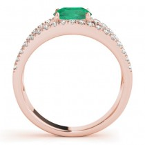 Emerald Split Shank Engagement Ring 14K Rose Gold (0.67ct)