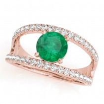 Emerald Split Shank Engagement Ring 18K Rose Gold (0.67ct)