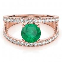 Emerald Split Shank Engagement Ring 18K Rose Gold (0.67ct)