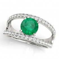 Emerald Split Shank Engagement Ring 18K White Gold (0.67ct)