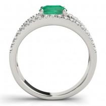 Emerald Split Shank Engagement Ring Palladium (0.67ct)