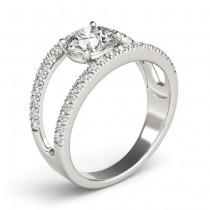 Round Diamond Split Shank Engagement Ring Platinum (0.69ct)