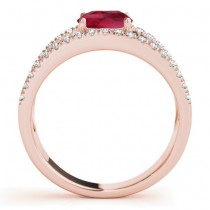 Ruby Split Shank Engagement Ring 14K Rose Gold (0.84ct)