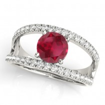 Round Ruby Split Shank Engagement Ring 14K White Gold 0.84ct