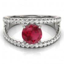 Ruby Split Shank Engagement Ring 14K White Gold (0.84ct)