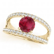 Ruby Split Shank Engagement Ring 14K Yellow Gold (0.84ct)