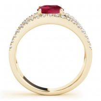 Ruby Split Shank Engagement Ring 14K Yellow Gold (0.84ct)