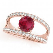 Ruby Split Shank Engagement Ring 18K Rose Gold (0.84ct)