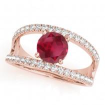 Ruby Split Shank Engagement Ring 18K Rose Gold (0.84ct)