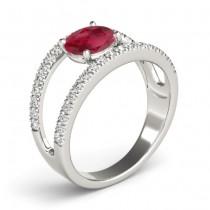Ruby Split Shank Engagement Ring 18K White Gold (0.84ct)