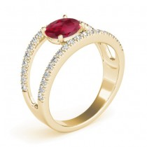 Ruby Split Shank Engagement Ring 18K Yellow Gold (0.84ct)