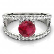 Ruby Split Shank Engagement Ring Platinum (0.84ct)