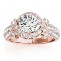 Diamond Twisted Engagement Ring Setting 18k Rose Gold (0.58ct)