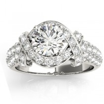 Diamond Twisted Engagement Ring Setting 18k White Gold (0.58ct)