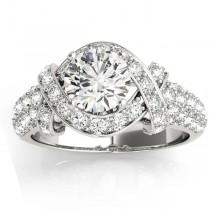 Diamond Twisted Engagement Ring Setting Platinum (0.58ct)