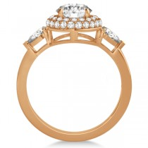 Pear and Round Cut Diamond Halo Engagement Ring 14k Rose Gold 1.70ct