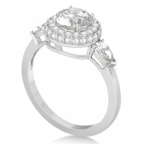 Pear and Round Cut Diamond Halo Engagement Ring 14k White Gold 1.70ct