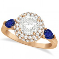 Pear Sapphire & Round Diamond Halo Engagement Ring 14k R Gold (1.70ct)
