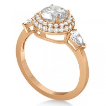 Pear Cut Side Stones & Diamond Halo Engagement Ring 14k R. Gold 0.75ct