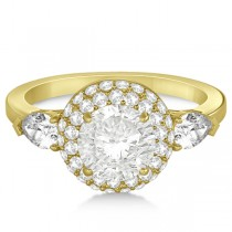 Pear Cut Side Stones & Diamond Halo Engagement Ring 14k Y. Gold 0.75ct
