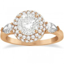 Pear Cut Side Stones & Diamond Halo Engagement Ring 18k R. Gold 0.75ct