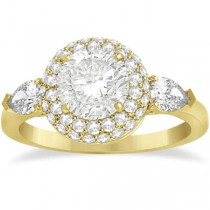Pear Cut Side Stones & Diamond Halo Engagement Ring 18k Y. Gold 0.75ct