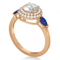Pear Cut Sapphire & Diamond Engagement Ring Setting 14k R. Gold 0.75ct