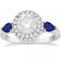 Pear Cut Sapphire & Diamond Engagement Ring Setting 14k W. Gold 0.75ct