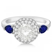 Pear Cut Sapphire & Diamond Engagement Ring Setting 14k W. Gold 0.75ct