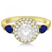 Pear Cut Sapphire & Diamond Engagement Ring Setting 14k Y. Gold 0.75ct