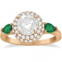 Pear Cut Emerald & Diamond Engagement Ring Setting 14k R. Gold 0.75ct