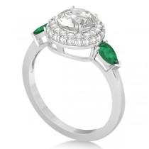 Pear Cut Emerald & Diamond Engagement Ring Setting 14k W. Gold 0.75ct