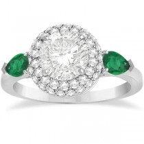 Pear Cut Emerald & Diamond Engagement Ring Setting 18k W. Gold 0.75ct