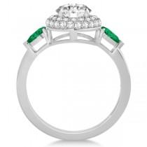 Pear Cut Emerald & Diamond Engagement Ring Setting 18k W. Gold 0.75ct
