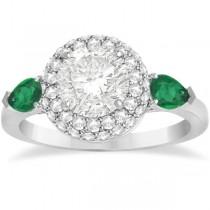 Pear Cut Emerald & Diamond Engagement Ring Setting Palladium 0.75ct