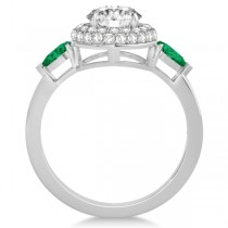 Pear Cut Emerald & Diamond Engagement Ring Setting Platinum 0.75ct