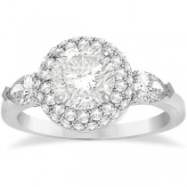 Pear Cut Side Stones & Diamond Halo Engagement Ring Palladium 0.75ct
