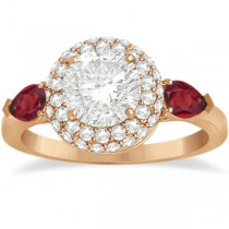 Pear Shape Ruby & Diamond Engagement Ring Setting 14k R. Gold (0.75ct)