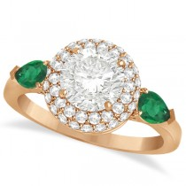 Pear Emerald & Round Diamond Halo Engagement Ring 14k R Gold (1.70ct)
