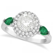 Pear Emerald & Round Diamond Halo Engagement Ring 14k W Gold (1.70ct)