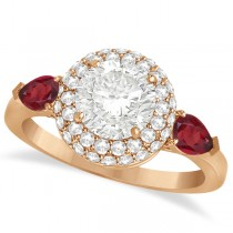 Pear Shape Ruby & Round Diamond Halo Engagement Ring 14k R Gold 1.70ct