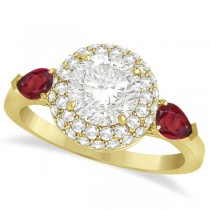 Pear Shape Ruby & Round Diamond Halo Engagement Ring 14k Y Gold 1.70ct