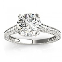 Diamond  Accented Engagement Ring Palladium (0.87ct)