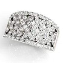 Elegant Wide Floral Diamond Ring Band 14k White Gold (0.63ct)