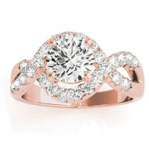 Diamond Twisted Band Engagement Ring Setting 18K Rose Gold (0.98ct)
