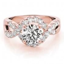 Diamond Twisted Band Engagement Ring Setting 18K Rose Gold (0.98ct)