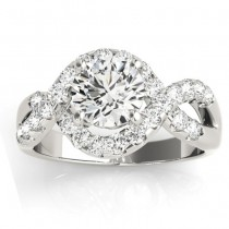 Diamond Twisted Band Engagement Ring Setting 18K White Gold (0.98ct)